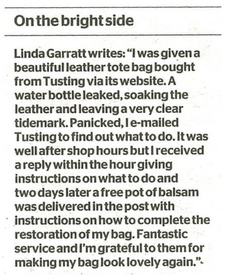 Newspaper clipping of a letter to The Times about good customer service from TUSITNG