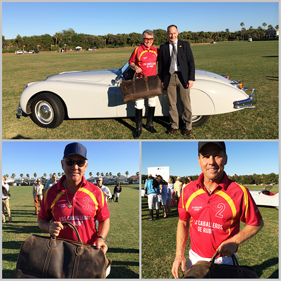 Top: Winning team captain John Walsh shows off his new Weekender and poses with William Tusting in front of his VERY nice Jaguar! Bottom: Memo Gracida and his Mike Azarro are happy to pose with their new Weekenders