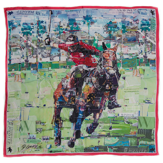 The beautiful scarf printed with the commemorative artwork of the 2014 Winsor Polo Charity Cup
