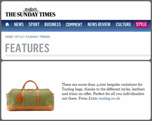 Tusting in The Sunday Times Online