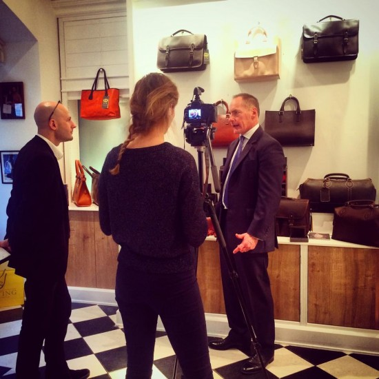 William Tusting being interviewed in The Tusting Popup Shop