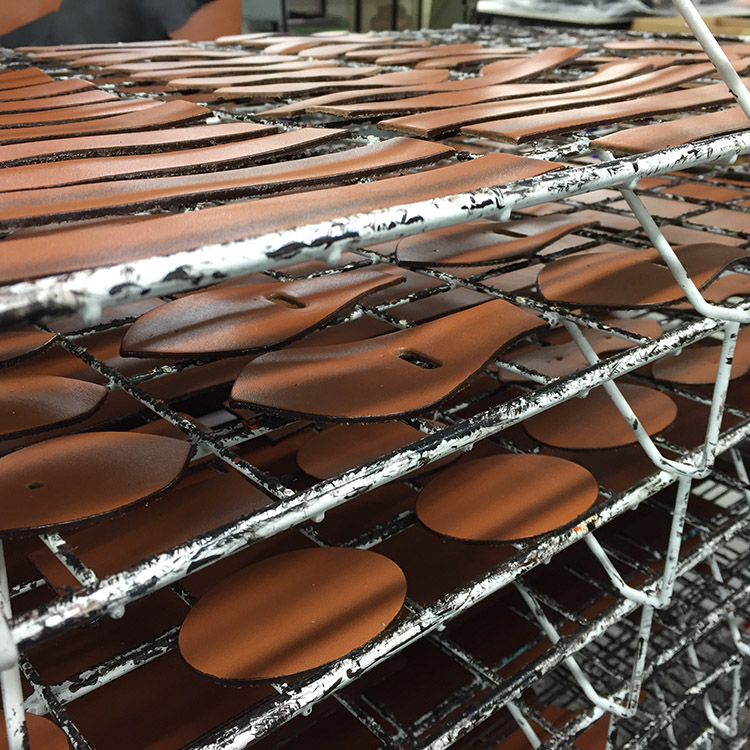 drying rack for edge staining at the TUSTING factory in england
