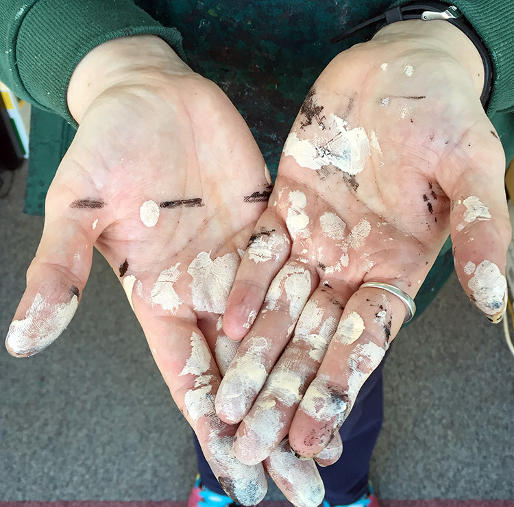 From the TUSTING factory - edge-stained hands