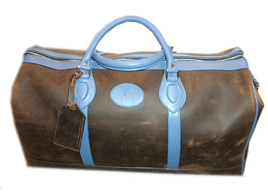 Bespoke TUSTING Bag: Weekender Leather Holdall in Aztec Crazyhorse with Sky Blue Trim