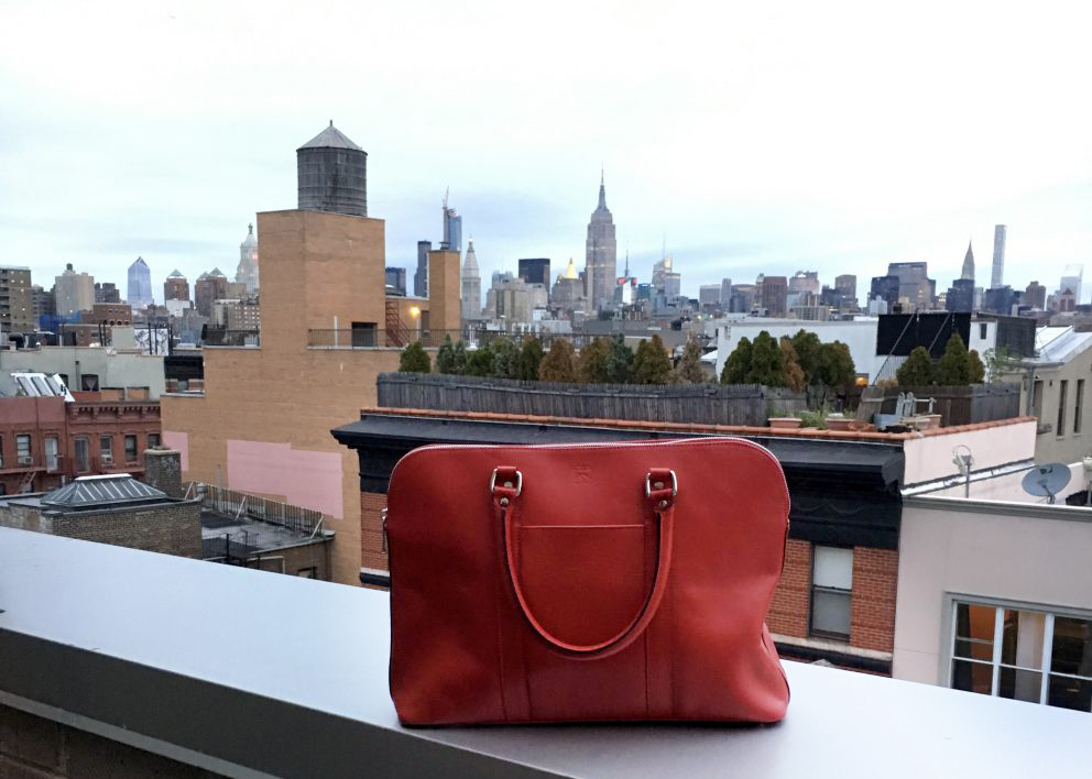 The TUSTING Donna Leather Work Handbag travels from London to New York