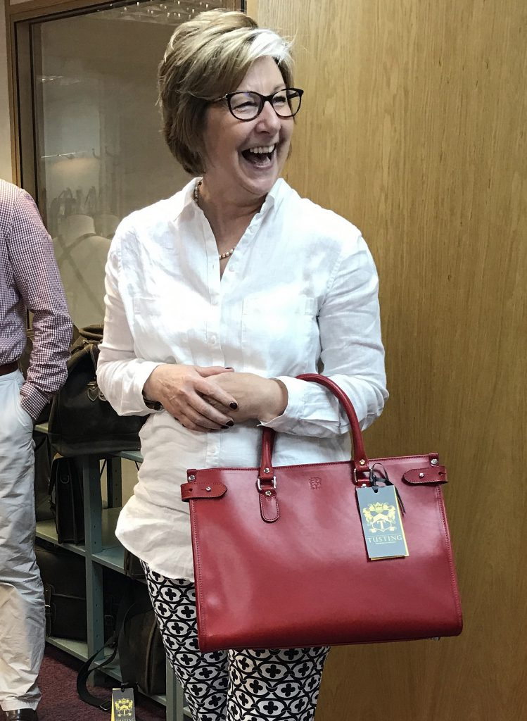 Mistress Leatherseller Sue Russell and the TUSTING Kimbolton Bag