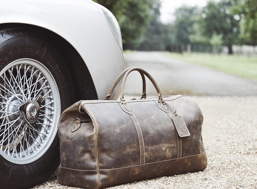 Aston Martin 1961 DB4 GT Zagoato and Tusting Luxury Leather Holdall in Aztec Crazyhorse Waxed Antique Leather