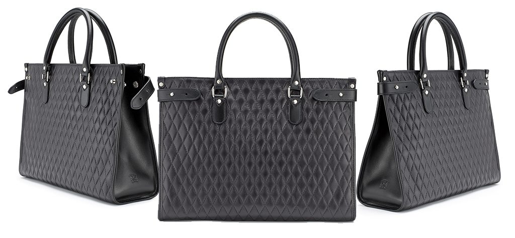 Tusting Kimbolton Leather Tote in Black Quilted leather
