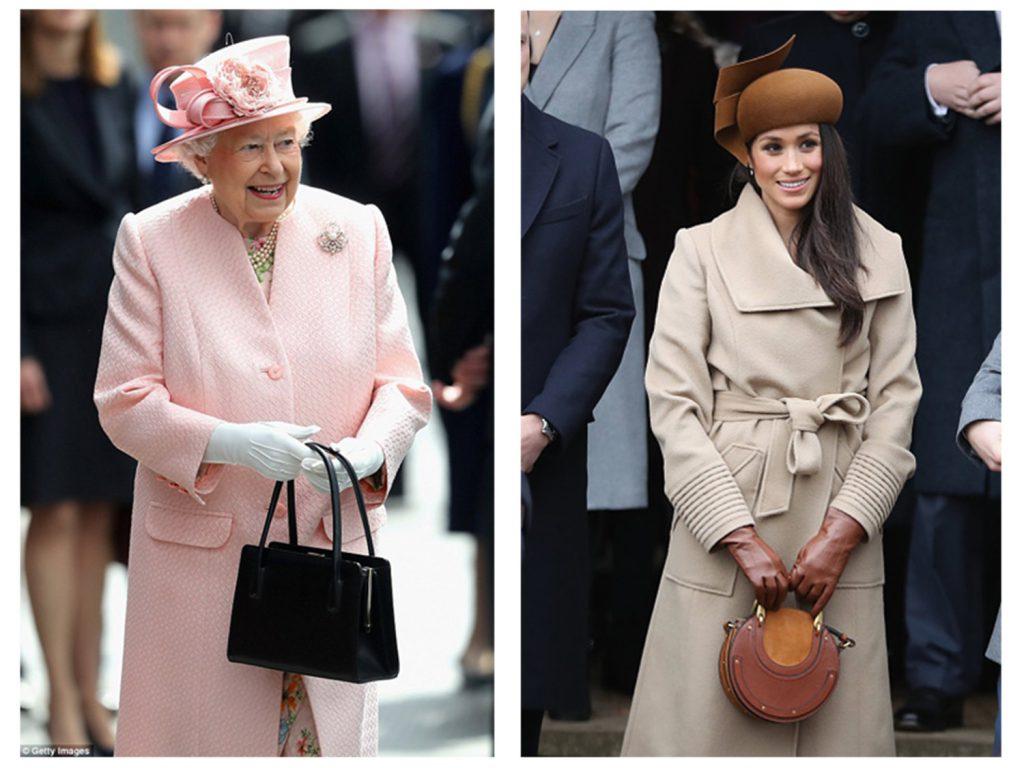 Queen Elizabeth and Meghan Markle carry top-handles bags