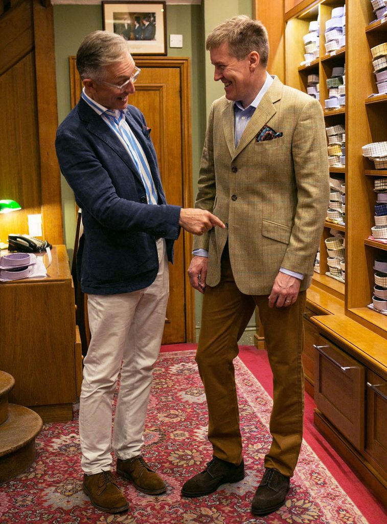 David Evans - the Grey Fox Blogger - explains the 'always sometimes never rule for doing up your jacket buttons to Alistair Tusting