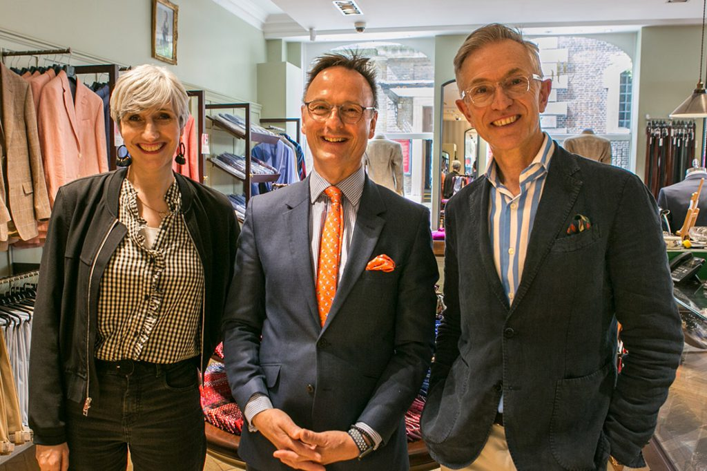 Sarah Gilfillan of SartoriaLab, Richard Harvie of Harvie & Hudson and David Evans of Grey Fox Blog admire their styling work on Alistair Tusting