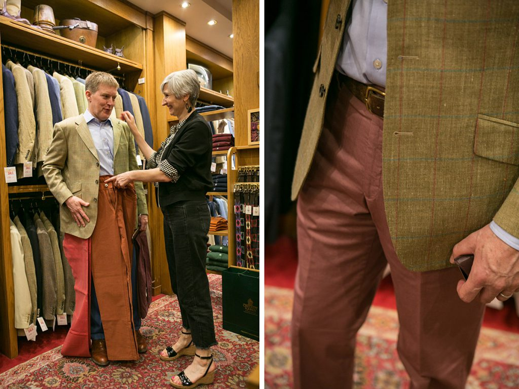 Sarah Gilfillan of SartoriaLab helps Alistair Tusting with his trouser dilemma at Cordings of Picadilly