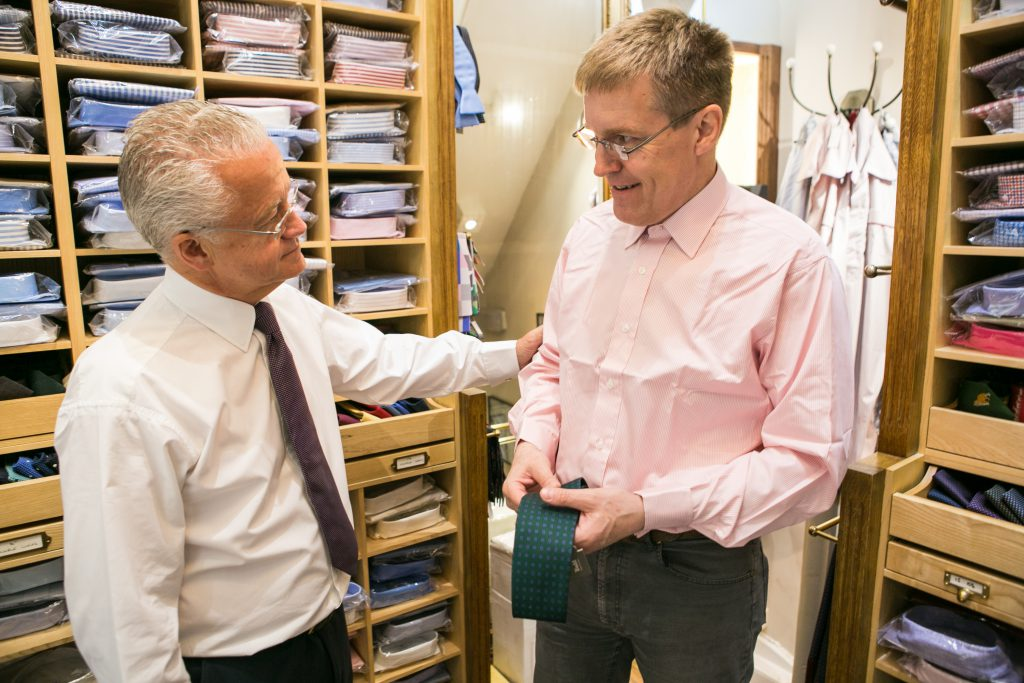 Alistair Tusting consults on shirt fit in Budd