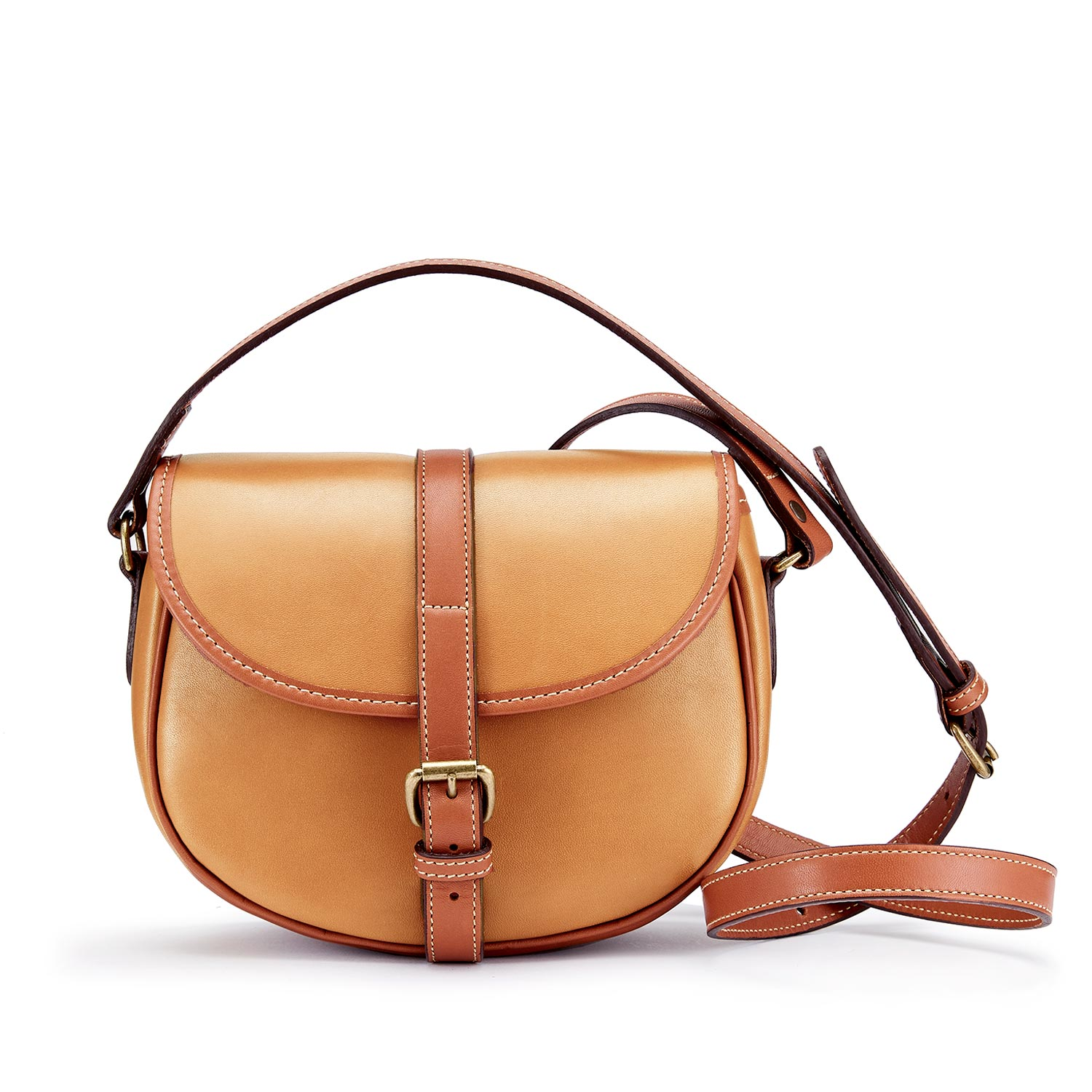 Cardington Crossbody Tan Leather Handbag (medium) made in england by Tusting
