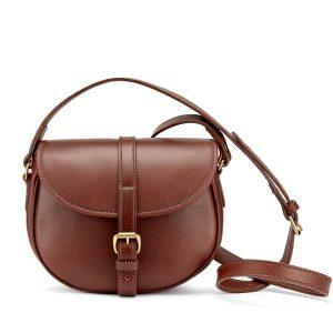 Cardington Leather Crossbody Handbag in Chestnut, medium, made in england by Tusting