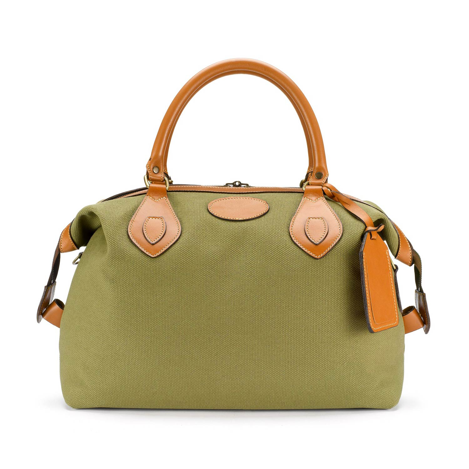 Tusting Explorer Holdall (small) in Olive Canvas and Tan Leather
