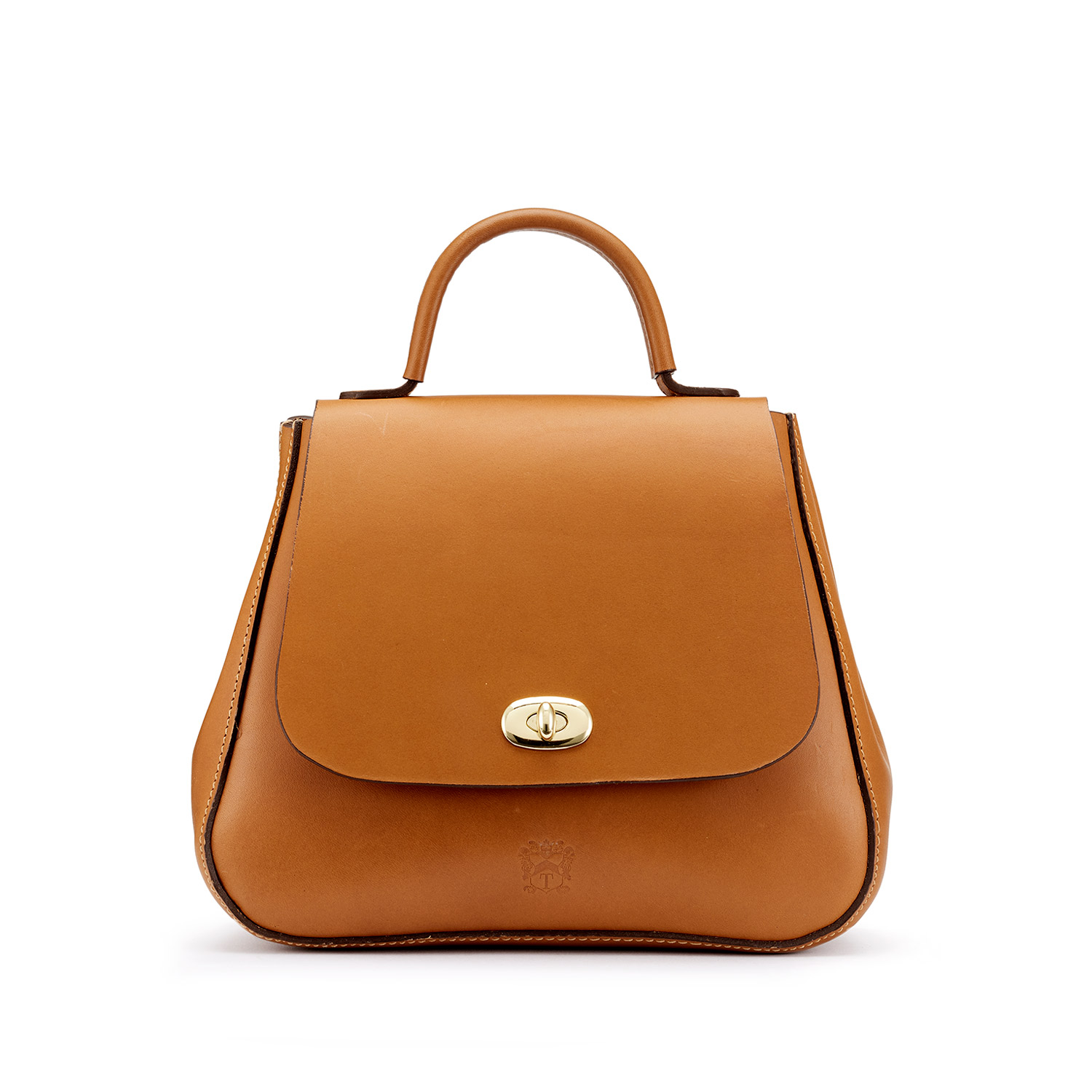 Tusting Holly Leather Top-Handled Handbag in Classic Tan