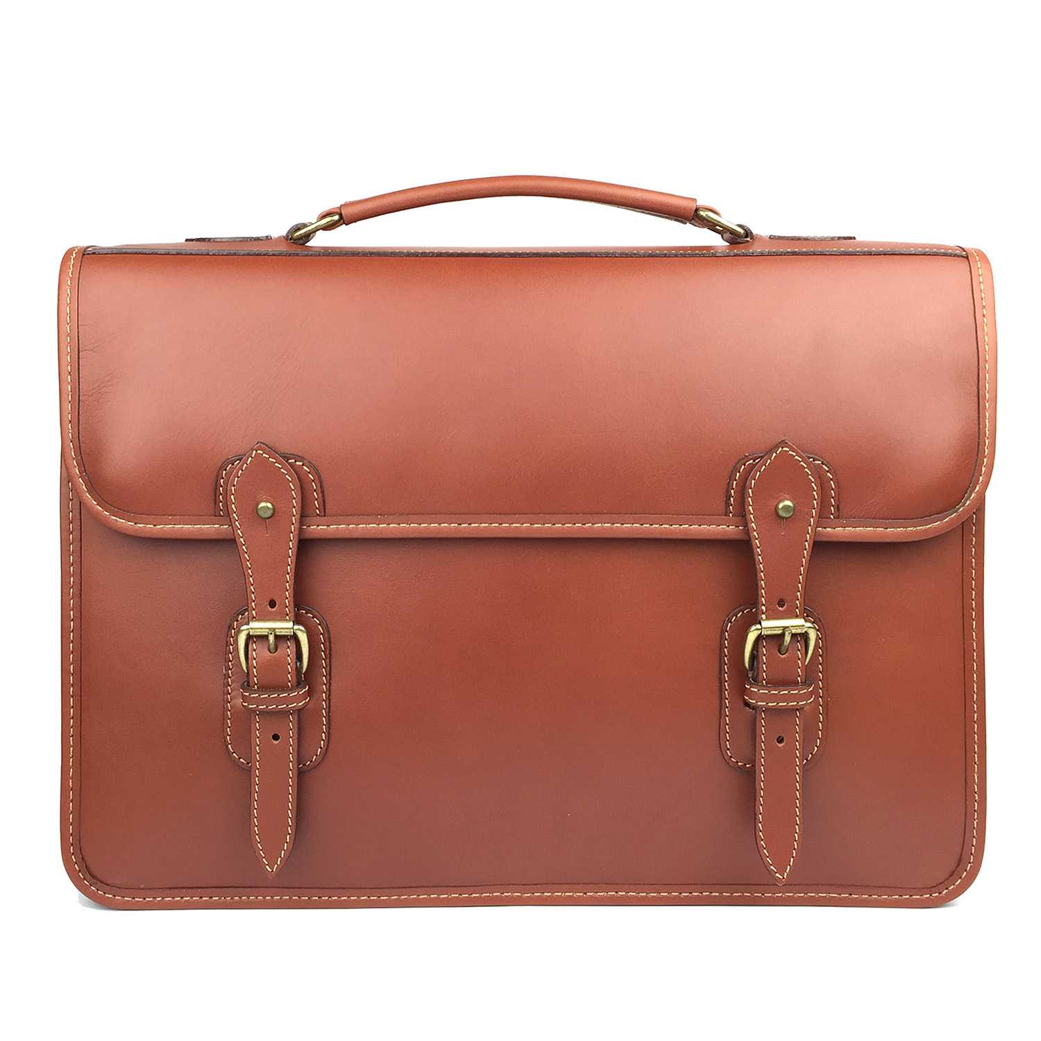 Tusting Leather Satchel Briefcase in London Tan