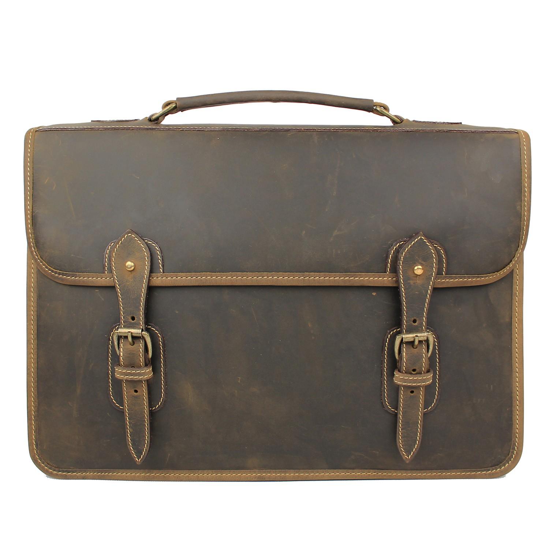 Tusting Wymington Leather Satchel Briefcase in Aztec Crazyhorse