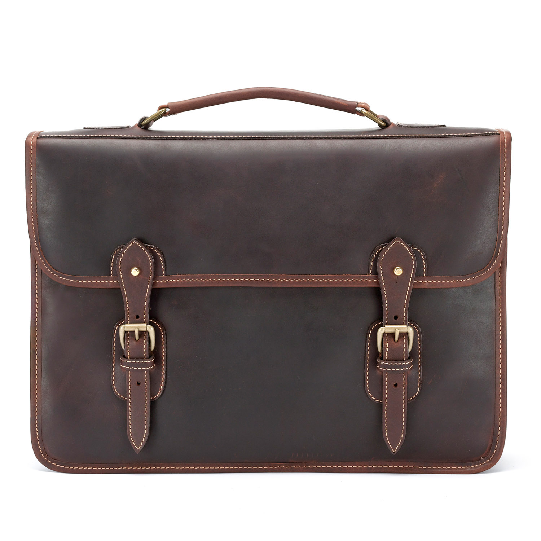 Tusting Wymington Leather Satchel Briefcase in Sundance Floodlight
