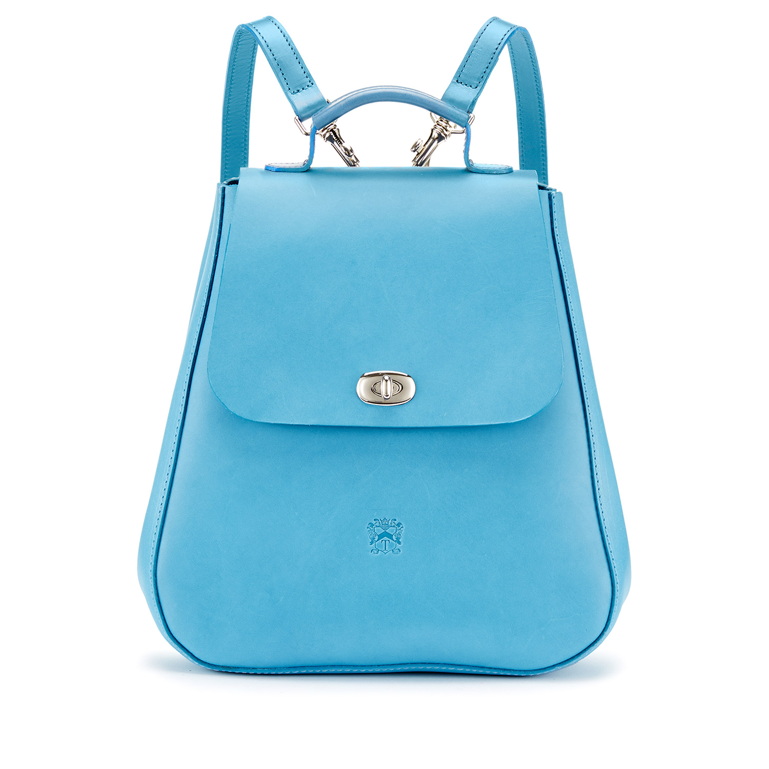 Tusting pale blue leather backpack rucksack, the Eliza