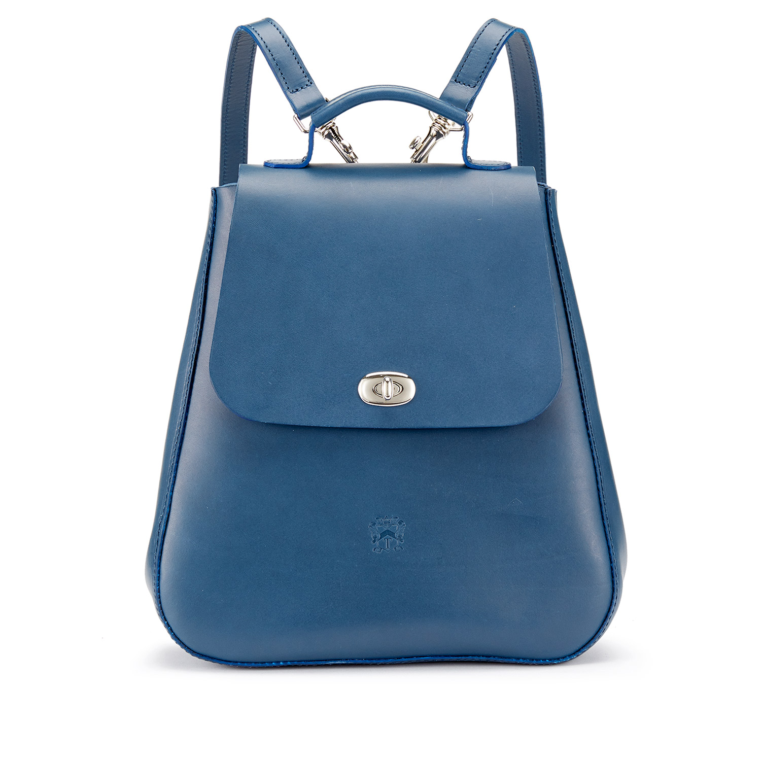 Tusting Marine Blue Leather Backpack Made in England