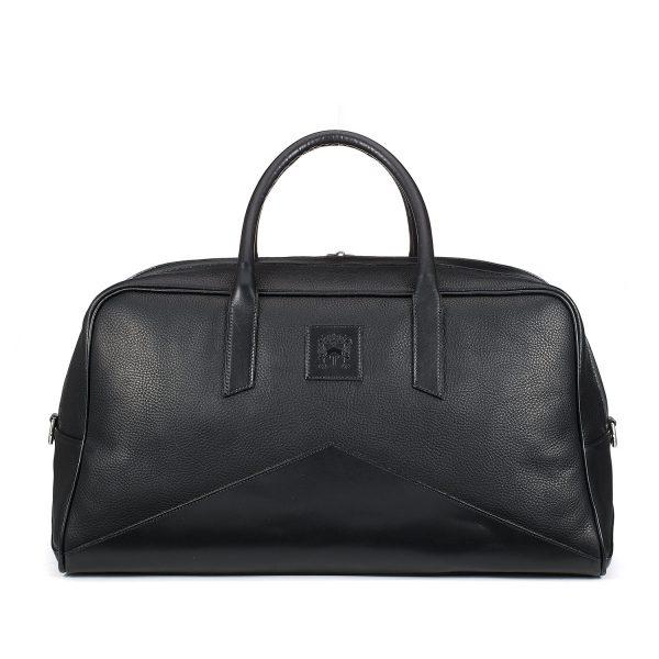 Tusting Hemington Luxury Black Leather Holdall, Made in England