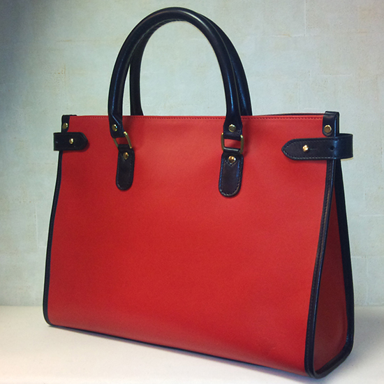 Bespoke Tusting Bag: Kimbolton in Red with Navy trim and handles