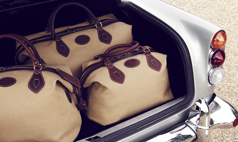 Tusting Luxury Explorer Holdall in an Aston Martin car