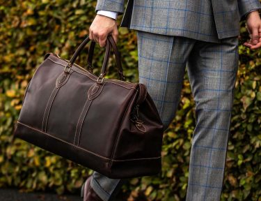 The Tusting All-Leather Weekender Holdall in Sundance Floodlight