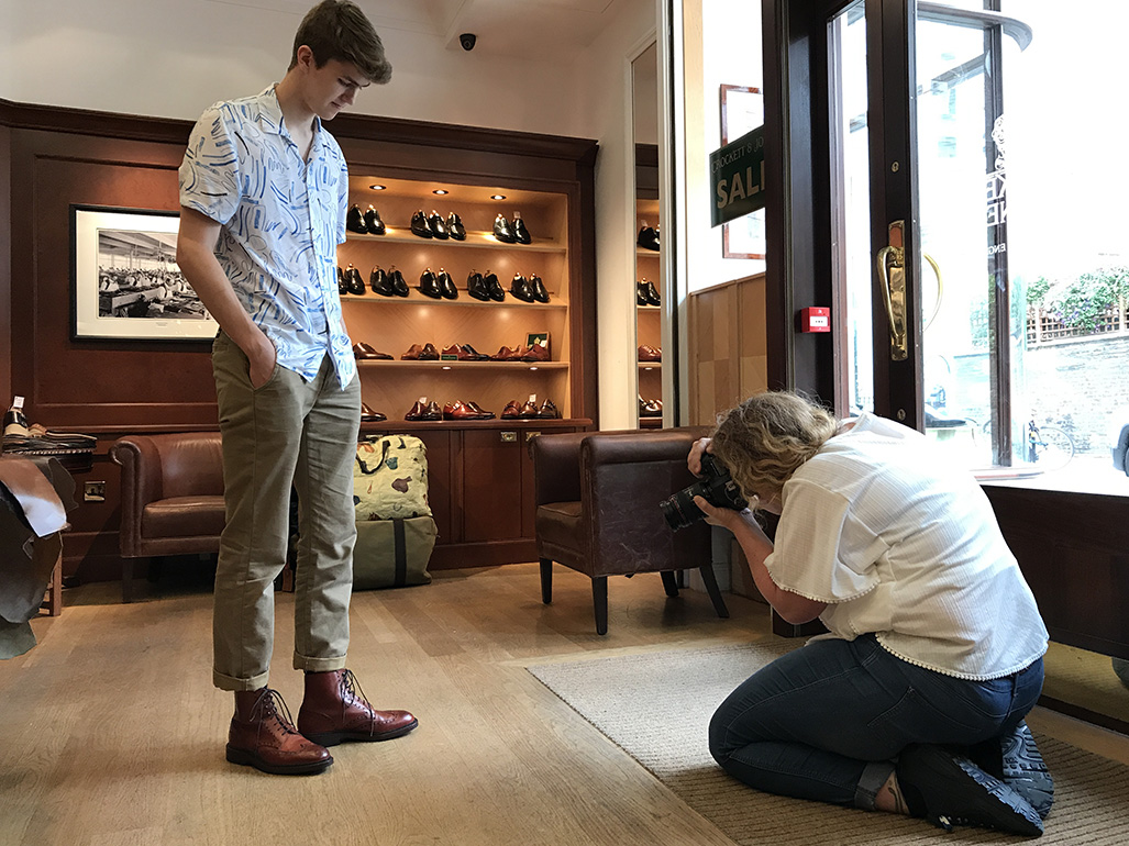 Top photographer Polskey gets down low on the Crockett & Jones Skye boots worn by Finlay Tusting