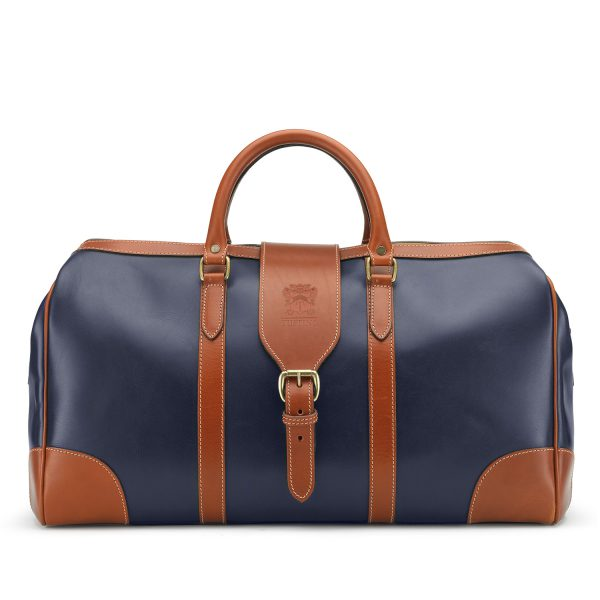 Tusting Chellington Heritage Leather Holdall in Navy and Tan
