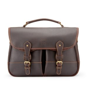 Tusting Small Clipper Leather Satchel in Sundance Floodlight