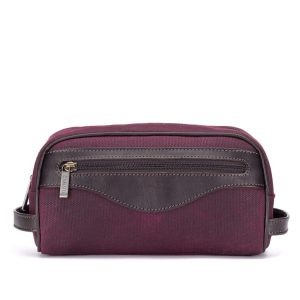 Tusting Canvas and Leather Washbag in Claret