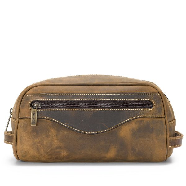 Tusting Leather Washbag in Aztec Leather