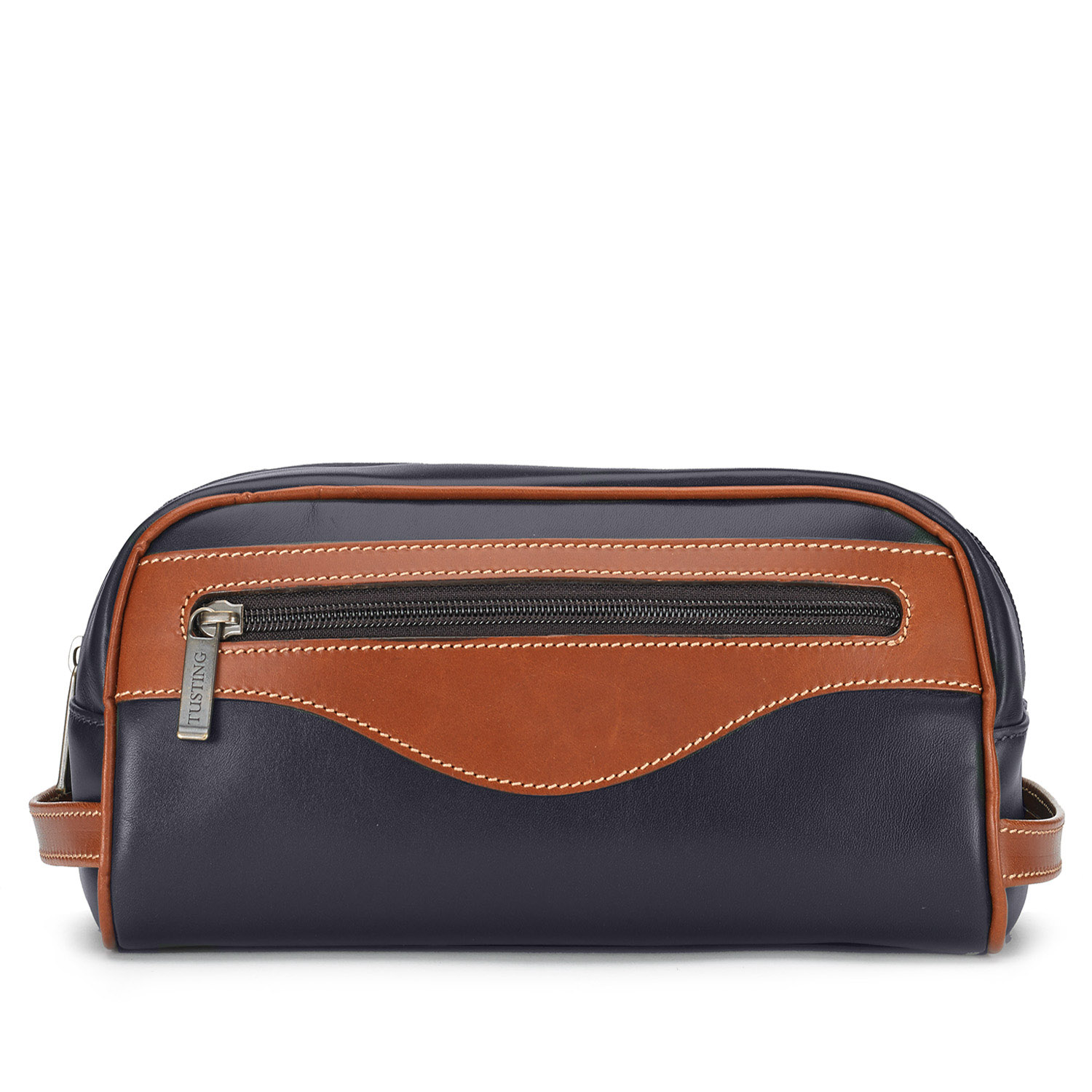 Tusting Leather Washbag in Navy with Tan Trim