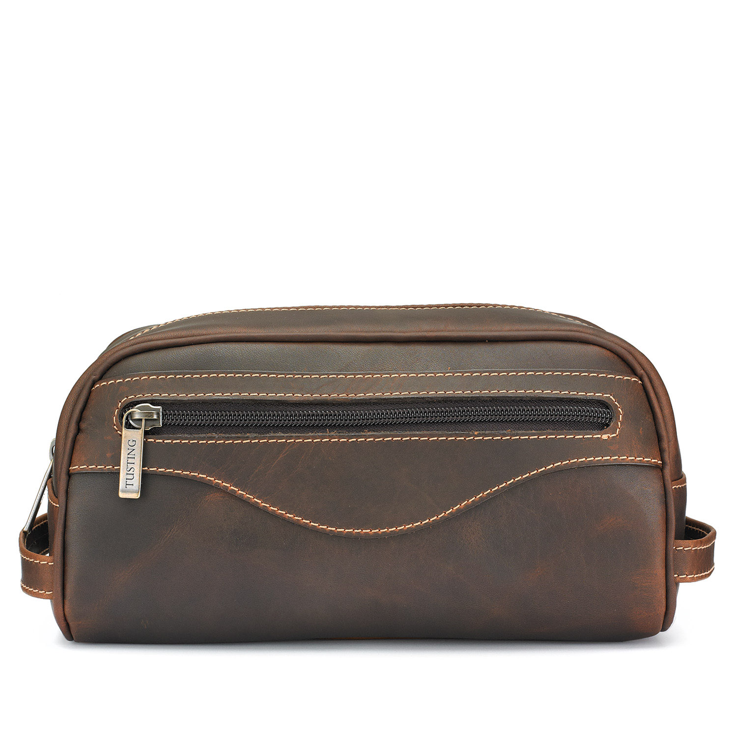 Tusting Leather Washbag in Sundance Oiled Leather