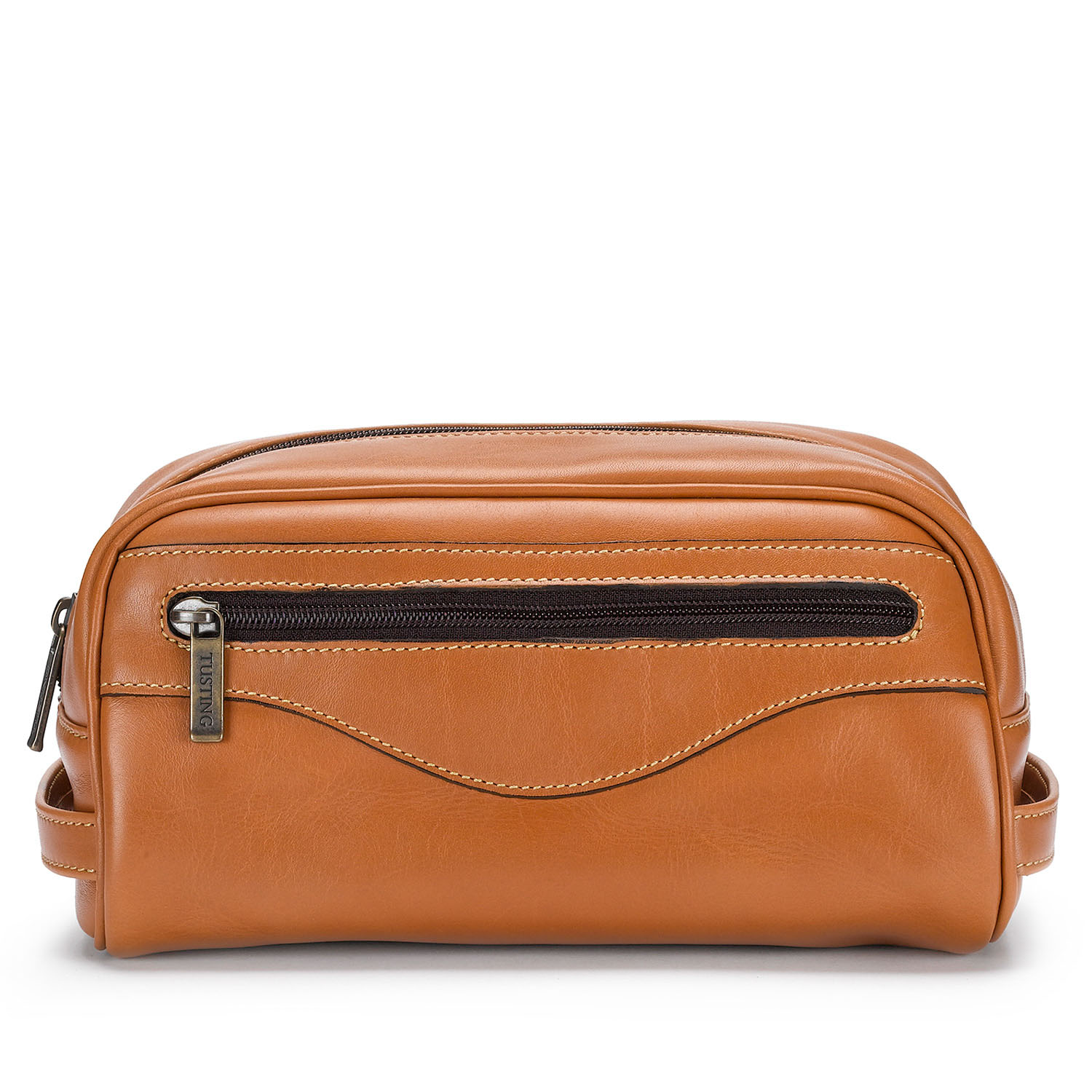Tusting Leather Washbag in Tan Leather