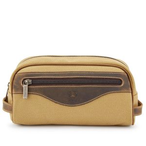 Tusting Safari Canvas and Leather Washbag