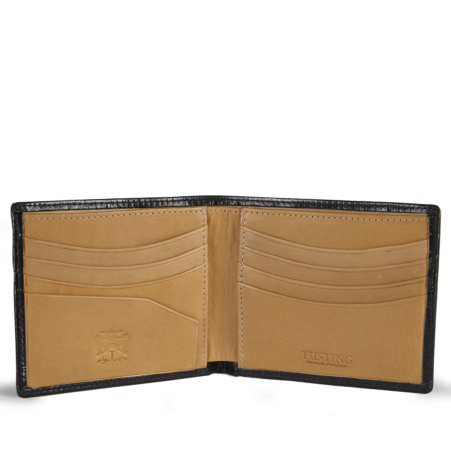 Tusting Black and Natural Tan Leather Hip Wallet