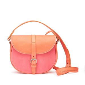 Tusting Medium Leather Cardington Crossbody Handbag in Coral and Cherry Blossom