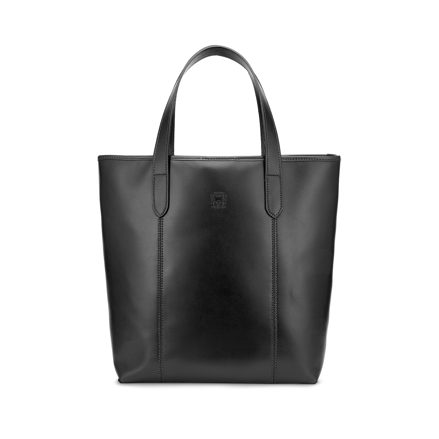 Tusting Leather Chelsea Tote Bag in Black Front