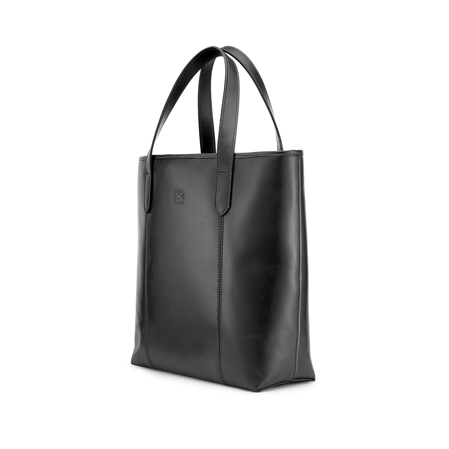 Tusting Leather Chelsea Tote Bag in Black Angle