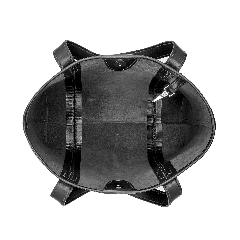 Tusting Leather Chelsea Tote Bag in Black Inner