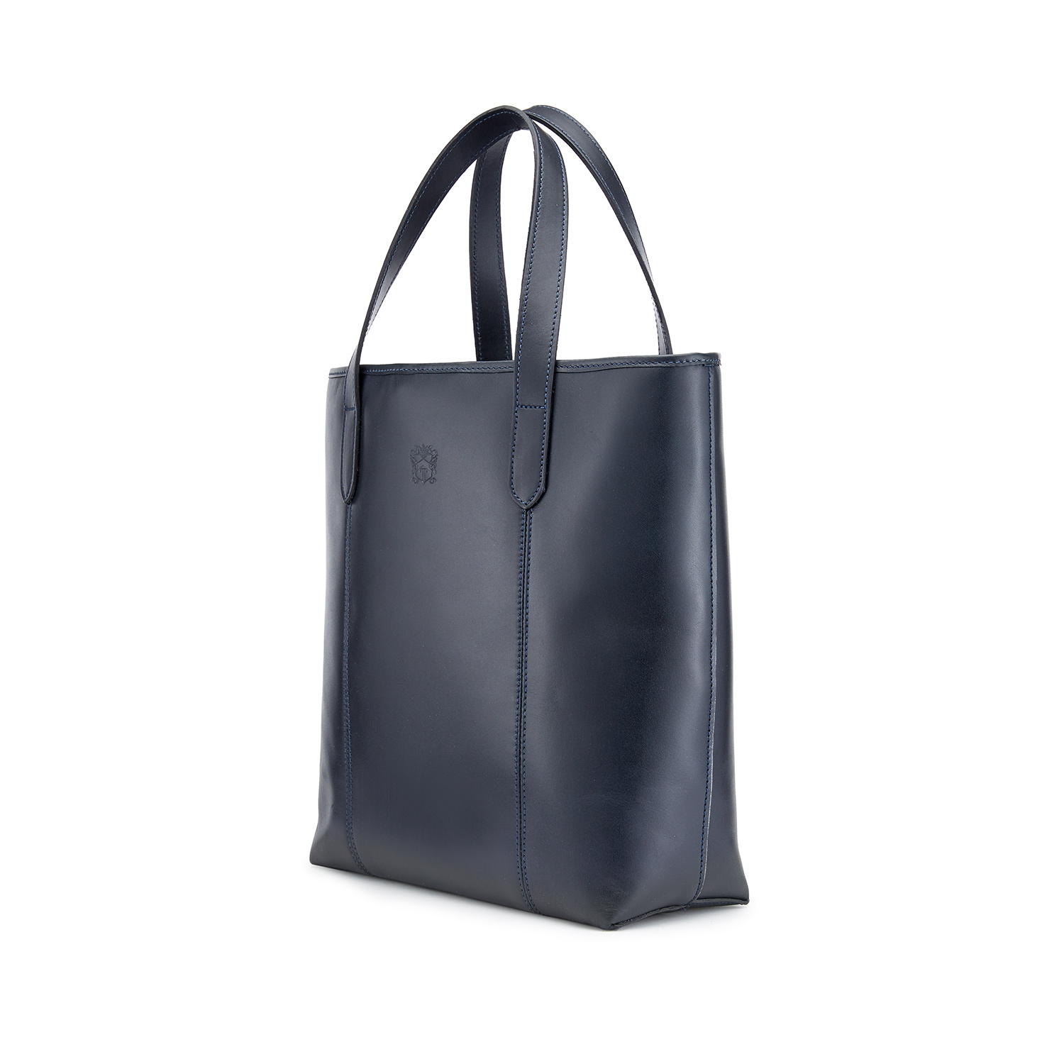 Tusting Leather Chelsea Tote Bag in Navy Angle