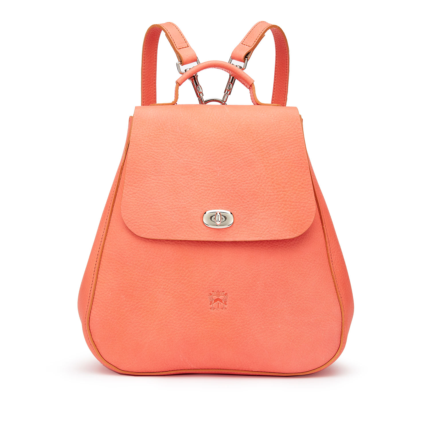 Tusting Eliza Leather Backpack in Coral