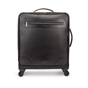 Tusting Goldington Leather Wheeled Suitcase in Black