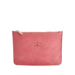 Tusting Medium Leather Zip Pouch Clutch Bag in Cherry Blossom