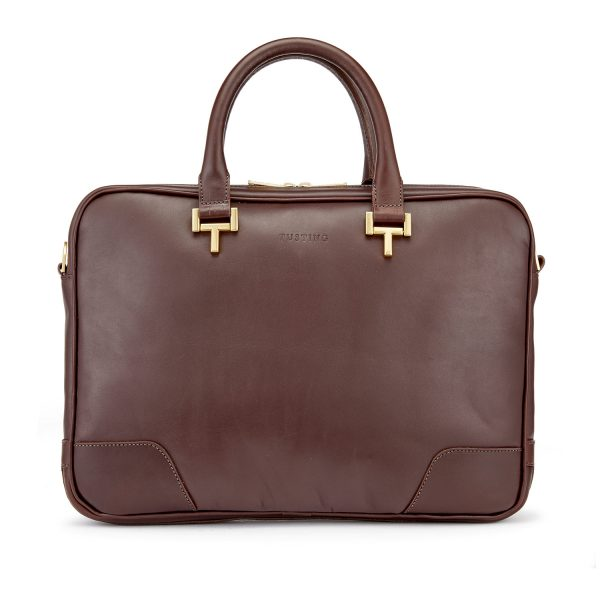 Tusting Chocolate Brown Leather Mortimer Briefcase