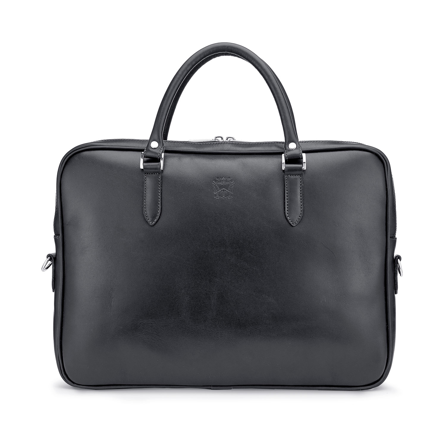 Tusting Piccadilly Leather Briefcase in Black Front